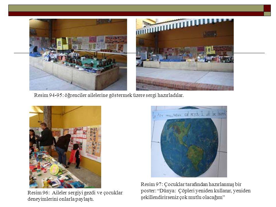 Resim 94-95: öğrenciler ailelerine göstermek üzere sergi hazırladılar. Resim 96: Aileler sergiyi gezdi ve çocuklar deneyimlerini onlarla paylaştı. Res