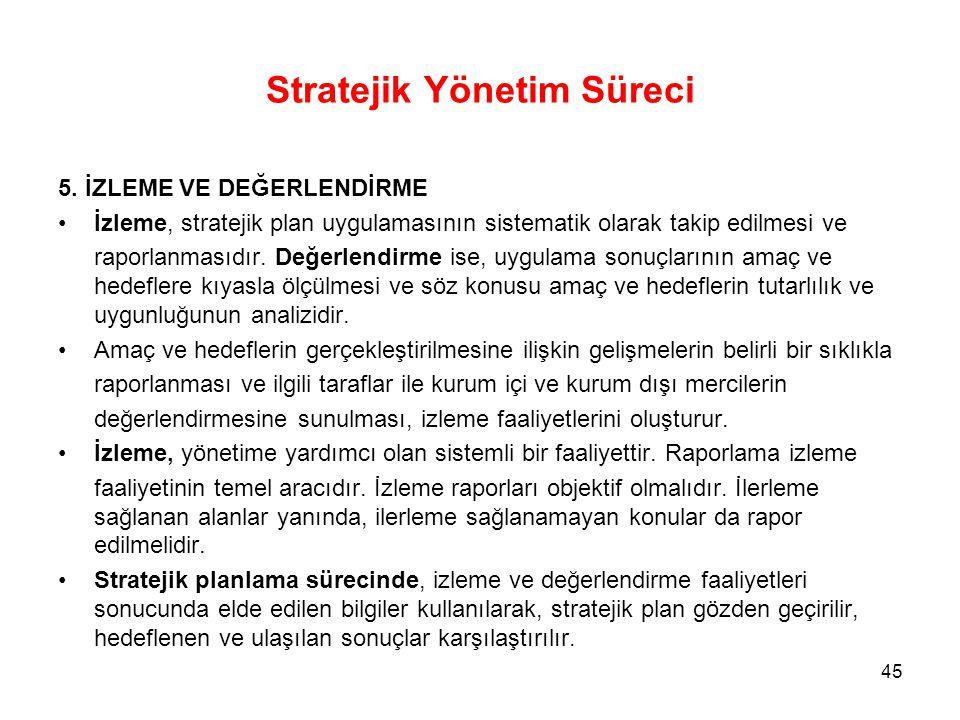 Stratejik Yönetim Süreci 5. İZLEME VE DEĞERLENDİRME İzleme, stratejik plan uygulamasının sistematik olarak takip edilmesi ve raporlanmasıdır. Değerlen