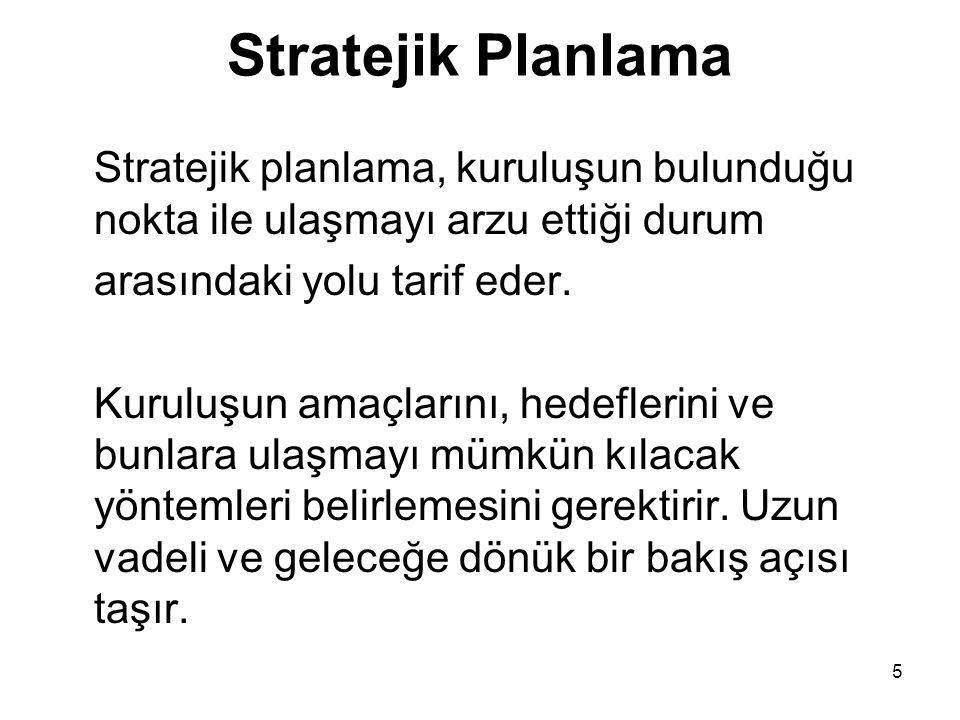 Stratejik Planlama Stratejik planlama, kuruluşun bulunduğu nokta ile ulaşmayı arzu ettiği durum arasındaki yolu tarif eder. Kuruluşun amaçlarını, hede