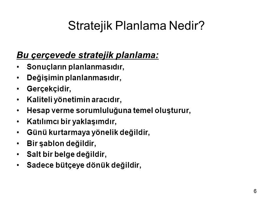 Stratejik Planlama Nedir? Bu çerçevede stratejik planlama: Sonuçların planlanmasıdır, Değişimin planlanmasıdır, Gerçekçidir, Kaliteli yönetimin aracıd