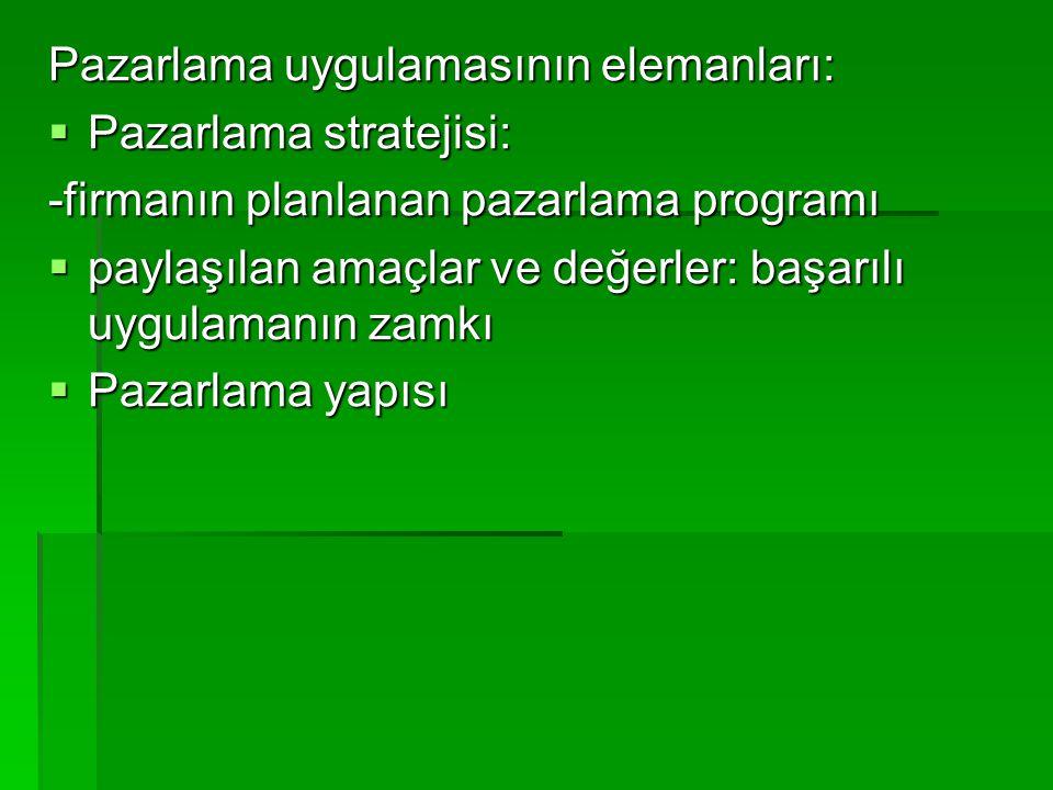 Pazarlama uygulamasının elemanları:  Pazarlama stratejisi: -firmanın planlanan pazarlama programı  paylaşılan amaçlar ve değerler: başarılı uygulama