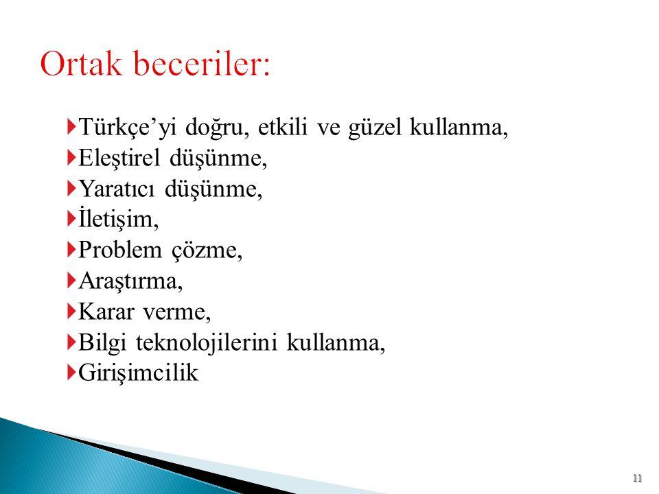  Türkçe'yi doğru, etkili ve güzel kullanma,  Eleştirel düşünme,  Yaratıcı düşünme,  İletişim,  Problem çözme,  Araştırma,  Karar verme,  Bilgi