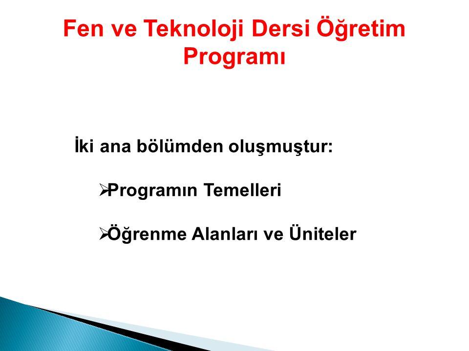 Fen ve Teknoloji Dersi Öğretim Programı İki ana bölümden oluşmuştur:   Programın Temelleri   Öğrenme Alanları ve Üniteler