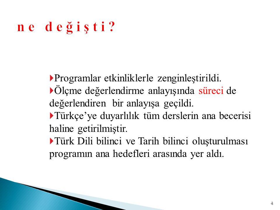  Programlar etkinliklerle zenginleştirildi.  Ölçme değerlendirme anlayışında süreci de değerlendiren bir anlayışa geçildi.  Türkçe'ye duyarlılık tü