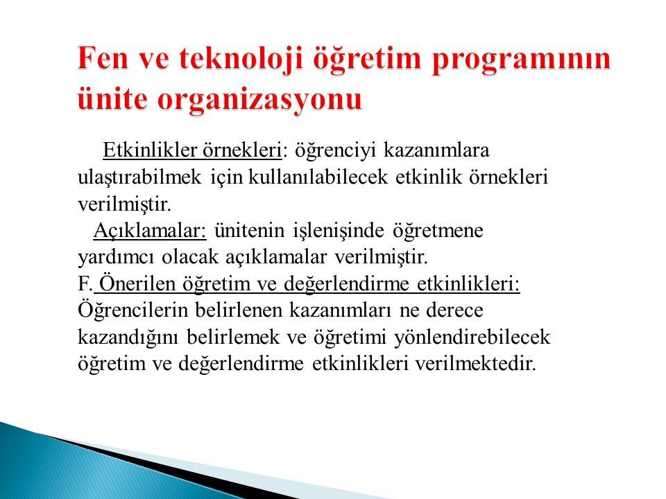 Fen ve teknoloji öğretim programının ünite organizasyonu Etkinlikler örnekleri: öğrenciyi kazanımlara ulaştırabilmek için kullanılabilecek etkinlik ör