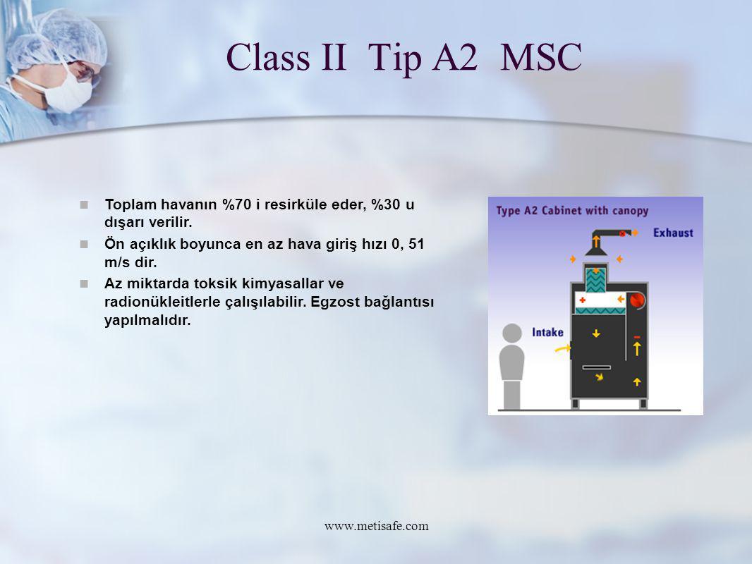 Class II Tip A2 MSC www.metisafe.com Toplam havanın %70 i resirküle eder, %30 u dışarı verilir. Ön açıklık boyunca en az hava giriş hızı 0, 51 m/s dir