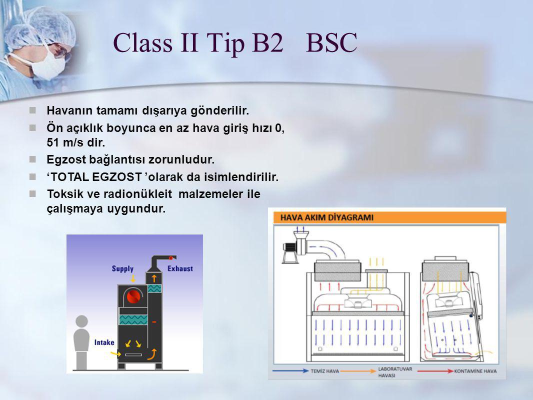 www.metisafe.com Class II Tip B2 BSC Havanın tamamı dışarıya gönderilir. Ön açıklık boyunca en az hava giriş hızı 0, 51 m/s dir. Egzost bağlantısı zor