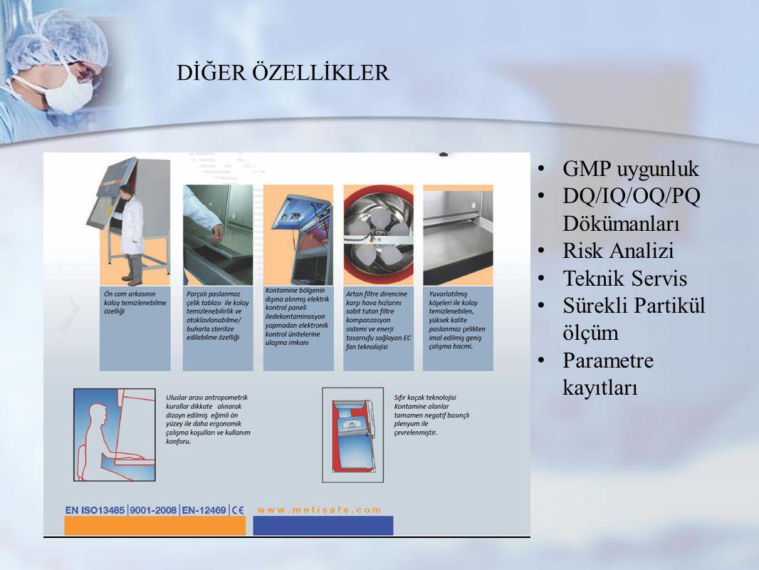 www.metisafe.com DİĞER ÖZELLİKLER GMP uygunluk DQ/IQ/OQ/PQ Dökümanları Risk Analizi Teknik Servis Sürekli Partikül ölçüm Parametre kayıtları