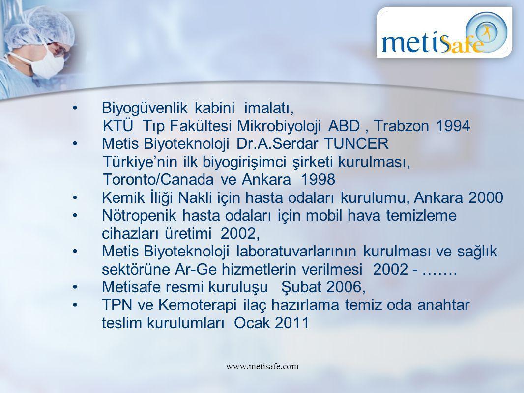 Biyogüvenlik kabini imalatı, KTÜ Tıp Fakültesi Mikrobiyoloji ABD, Trabzon 1994 Metis Biyoteknoloji Dr.A.Serdar TUNCER Türkiye'nin ilk biyogirişimci şi
