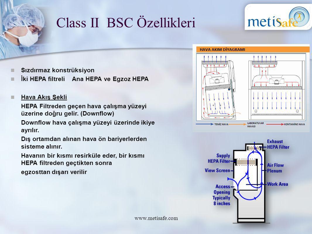 Class II BSC Özellikleri www.metisafe.com Sızdırmaz konstrüksiyon İki HEPA filtreli Ana HEPA ve Egzoz HEPA Hava Akış Şekli HEPA Filtreden geçen hava ç