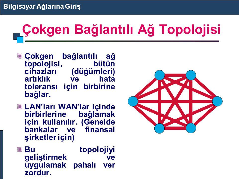 Çokgen Bağlantılı Ağ Topolojisi Çokgen bağlantılı ağ topolojisi, bütün cihazları (düğümleri) artıklık ve hata toleransı için birbirine bağlar. LAN'lar