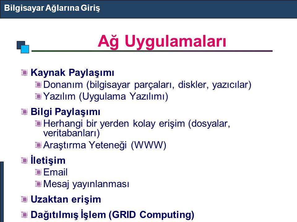 Ağ Uygulamaları Bilgisayar Ağlarına Giriş Kaynak Paylaşımı Donanım (bilgisayar parçaları, diskler, yazıcılar) Yazılım (Uygulama Yazılımı) Bilgi Paylaş
