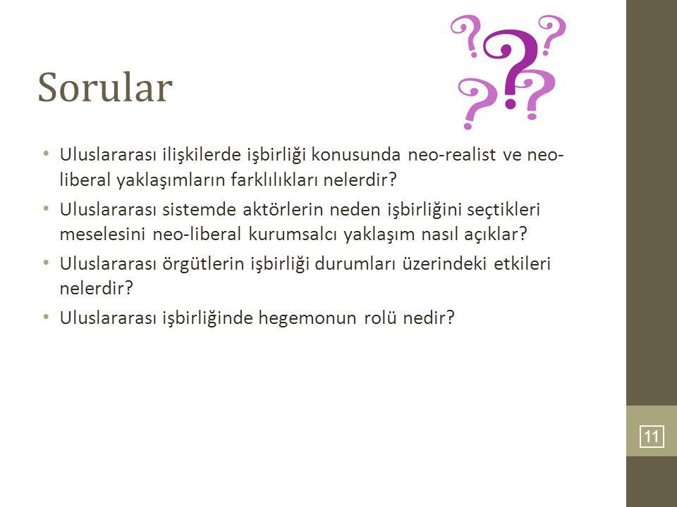 11 Sorular Uluslararası ilişkilerde işbirliği konusunda neo-realist ve neo- liberal yaklaşımların farklılıkları nelerdir? Uluslararası sistemde aktörl