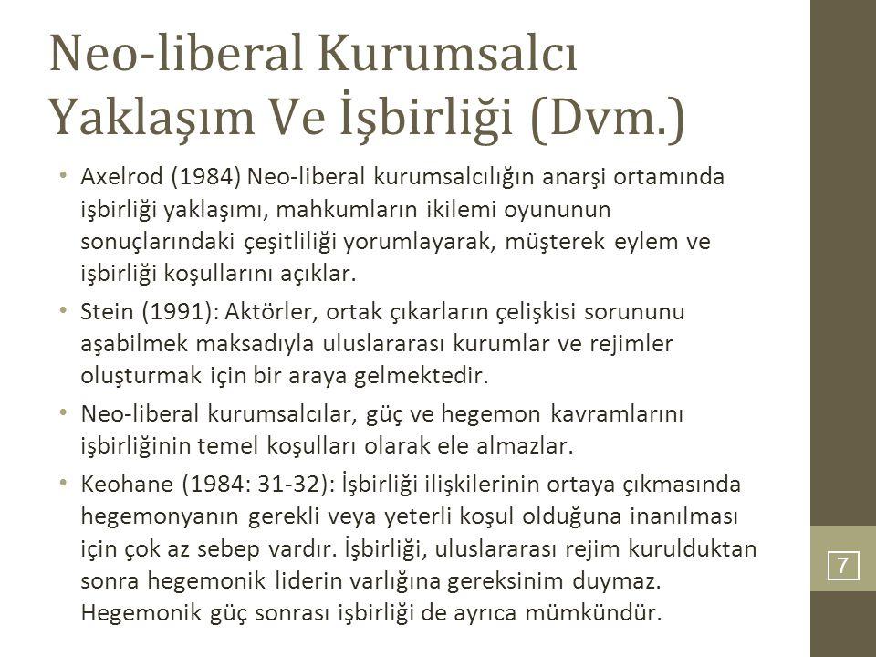 7 Neo-liberal Kurumsalcı Yaklaşım Ve İşbirliği (Dvm.) Axelrod (1984) Neo-liberal kurumsalcılığın anarşi ortamında işbirliği yaklaşımı, mahkumların iki
