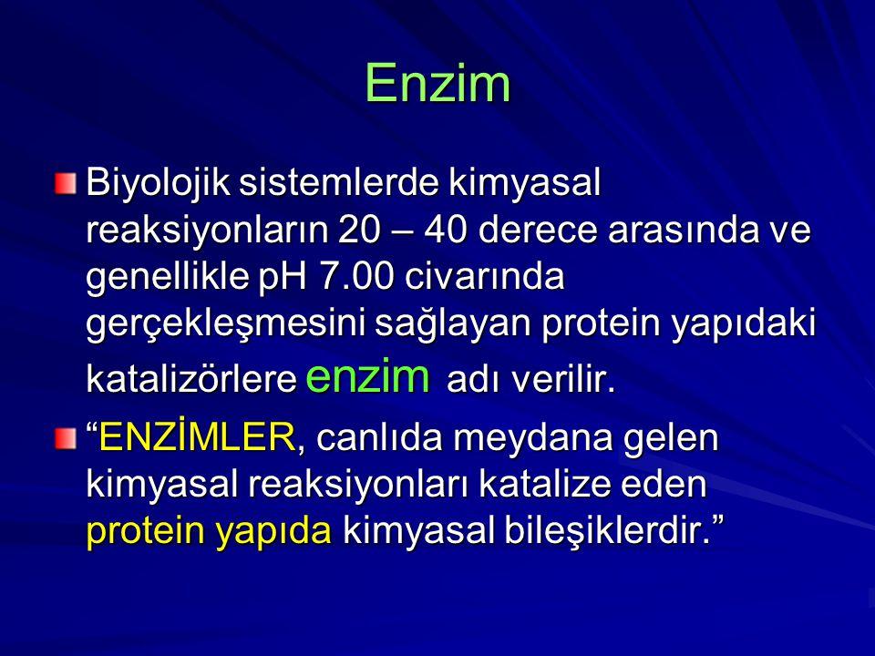 Enzim Biyolojik sistemlerde kimyasal reaksiyonların 20 – 40 derece arasında ve genellikle pH 7.00 civarında gerçekleşmesini sağlayan protein yapıdaki