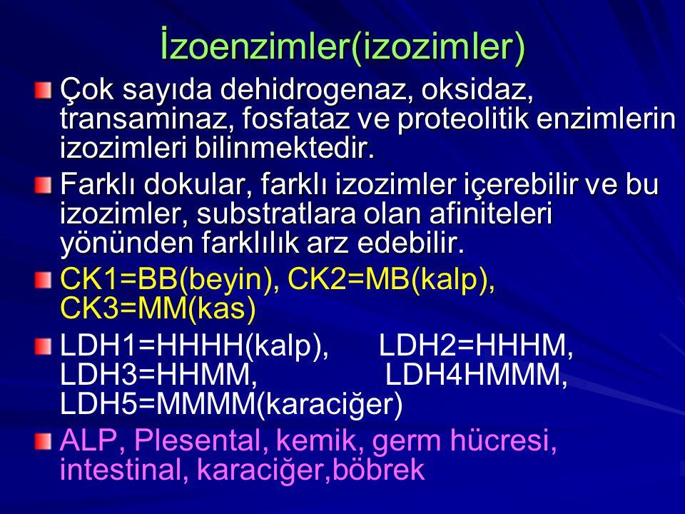 İzoenzimler(izozimler) Çok sayıda dehidrogenaz, oksidaz, transaminaz, fosfataz ve proteolitik enzimlerin izozimleri bilinmektedir.