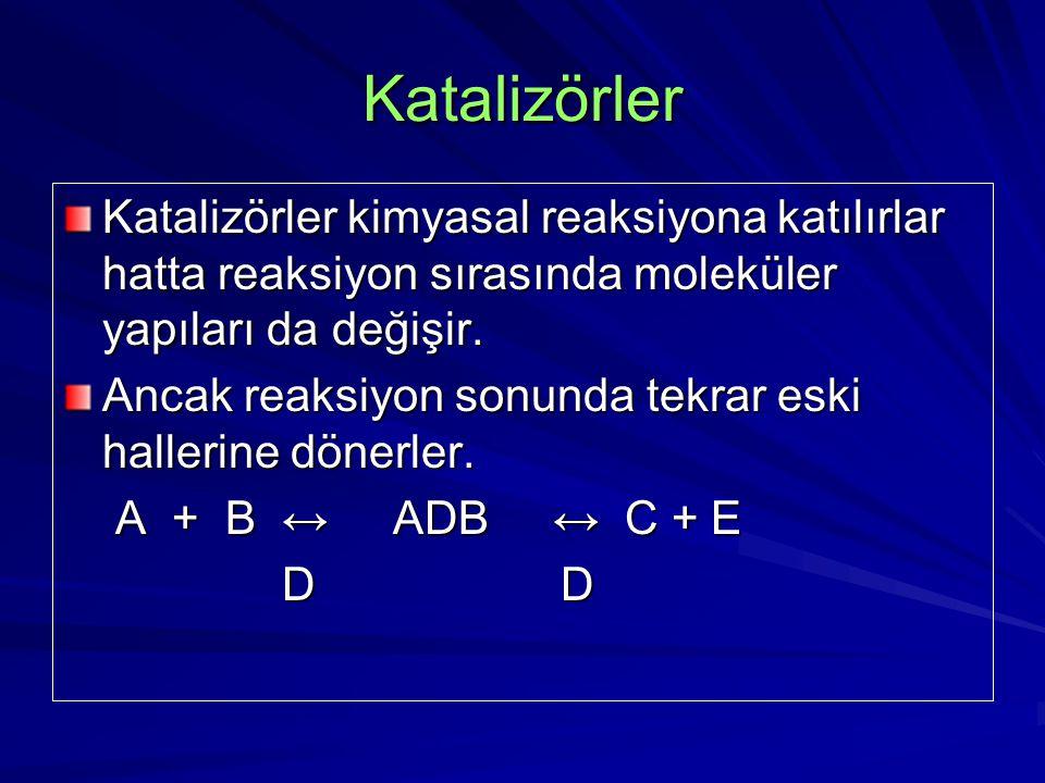 Katalizörler Katalizörler kimyasal reaksiyona katılırlar hatta reaksiyon sırasında moleküler yapıları da değişir. Ancak reaksiyon sonunda tekrar eski