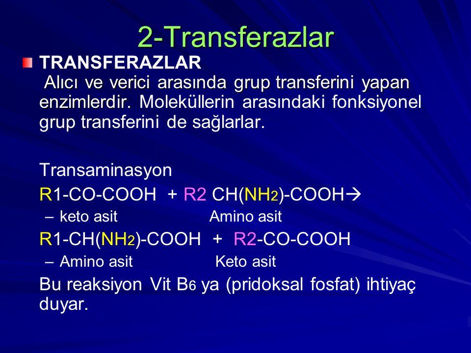 2-Transferazlar Alıcı ve verici arasında grup transferini yapan enzimlerdir. TRANSFERAZLAR Alıcı ve verici arasında grup transferini yapan enzimlerdir