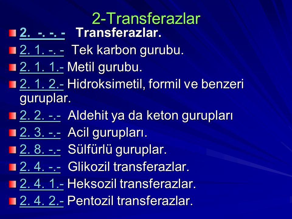 2-Transferazlar 2. -. -2. -. -. - Transferazlar. 2. -. - 2. 1. -. -2. 1. -. - Tek karbon gurubu. 2. 1. -. - 2. 1. 1.-2. 1. 1.- Metil gurubu. 2. 1. 1.-