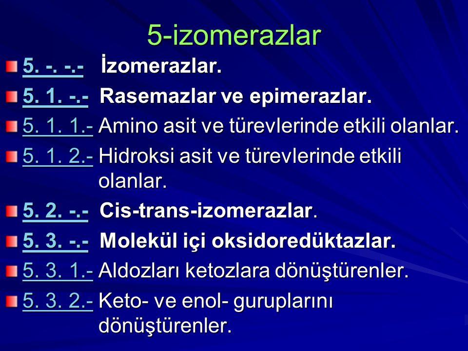 5-izomerazlar 5. -. -.-5. -. -.- İzomerazlar. 5. -. -.- 5. 1. -.-5. 1. -.- Rasemazlar ve epimerazlar. 5. 1. -.- 5. 1. 1.-5. 1. 1.- Amino asit ve türev