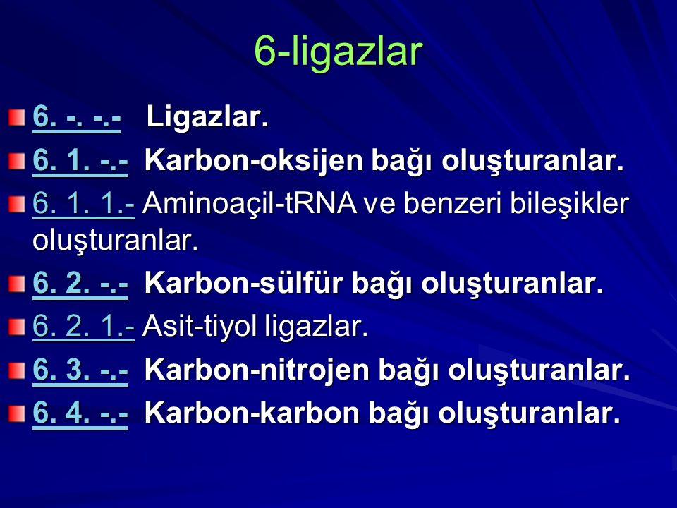 6-ligazlar 6. -. -.-6. -. -.- Ligazlar. 6. -. -.- 6. 1. -.-6. 1. -.- Karbon-oksijen bağı oluşturanlar. 6. 1. -.- 6. 1. 1.-6. 1. 1.- Aminoaçil-tRNA ve