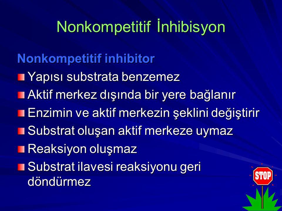 Nonkompetitif İnhibisyon Nonkompetitif inhibitor Yapısı substrata benzemez Aktif merkez dışında bir yere bağlanır Enzimin ve aktif merkezin şeklini değiştirir Substrat oluşan aktif merkeze uymaz Reaksiyon oluşmaz Substrat ilavesi reaksiyonu geri döndürmez