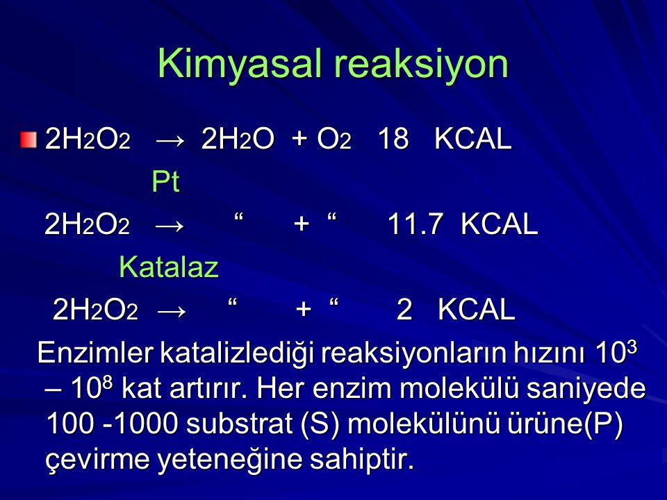 Kimyasal reaksiyon 2H 2 O 2 → 2H 2 O + O 2 18 KCAL Pt Pt 2H 2 O 2 → + 11.7 KCAL 2H 2 O 2 → + 11.7 KCAL Katalaz Katalaz 2H 2 O 2 → + 2 KCAL 2H 2 O 2 → + 2 KCAL Enzimler katalizlediği reaksiyonların hızını 10 3 – 10 8 kat artırır.