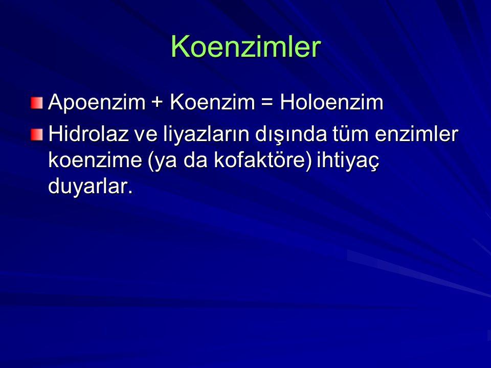 Koenzimler Apoenzim + Koenzim = Holoenzim Hidrolaz ve liyazların dışında tüm enzimler koenzime (ya da kofaktöre) ihtiyaç duyarlar.