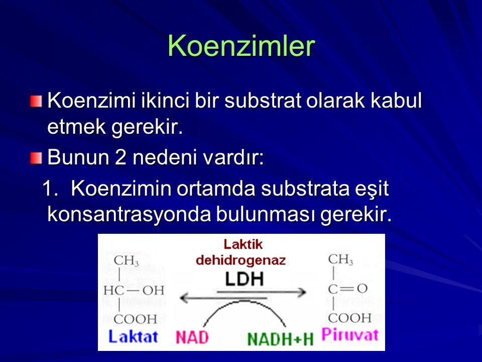 Koenzimler Koenzimi ikinci bir substrat olarak kabul etmek gerekir. Bunun 2 nedeni vardır: 1. Koenzimin ortamda substrata eşit konsantrasyonda bulunma