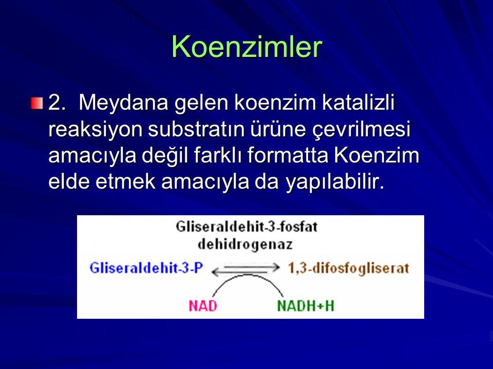 Koenzimler 2. Meydana gelen koenzim katalizli reaksiyon substratın ürüne çevrilmesi amacıyla değil farklı formatta Koenzim elde etmek amacıyla da yapı