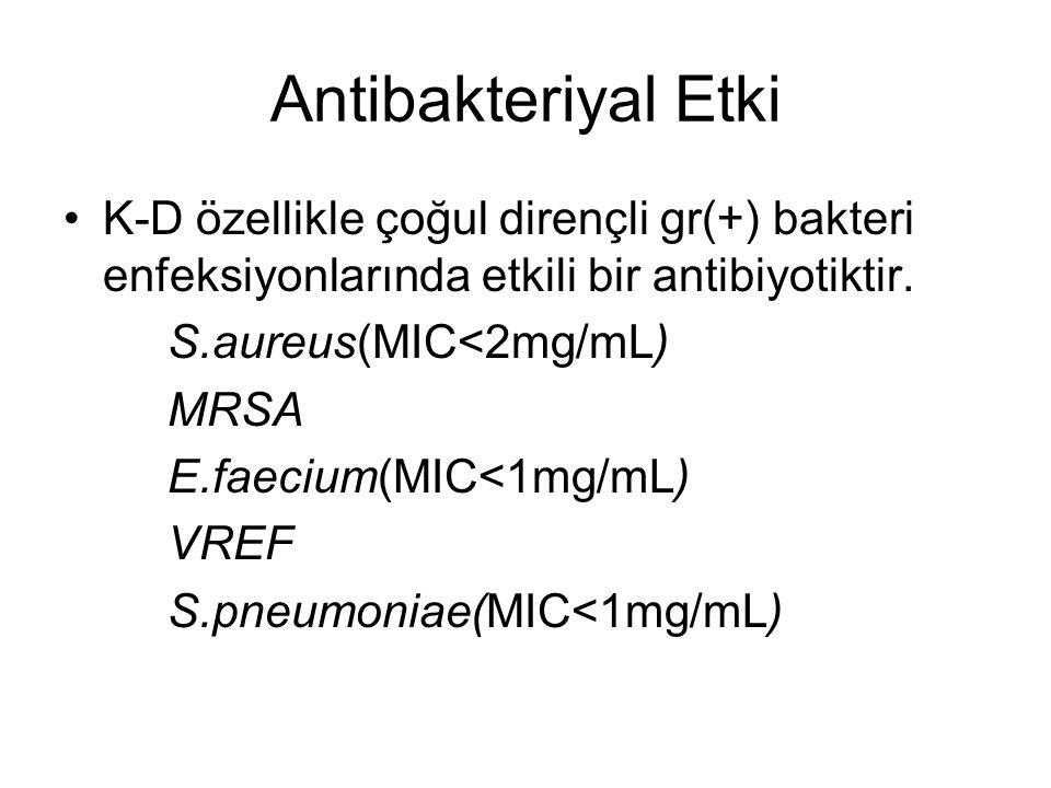 Antibakteriyal Etki K-D özellikle çoğul dirençli gr(+) bakteri enfeksiyonlarında etkili bir antibiyotiktir.