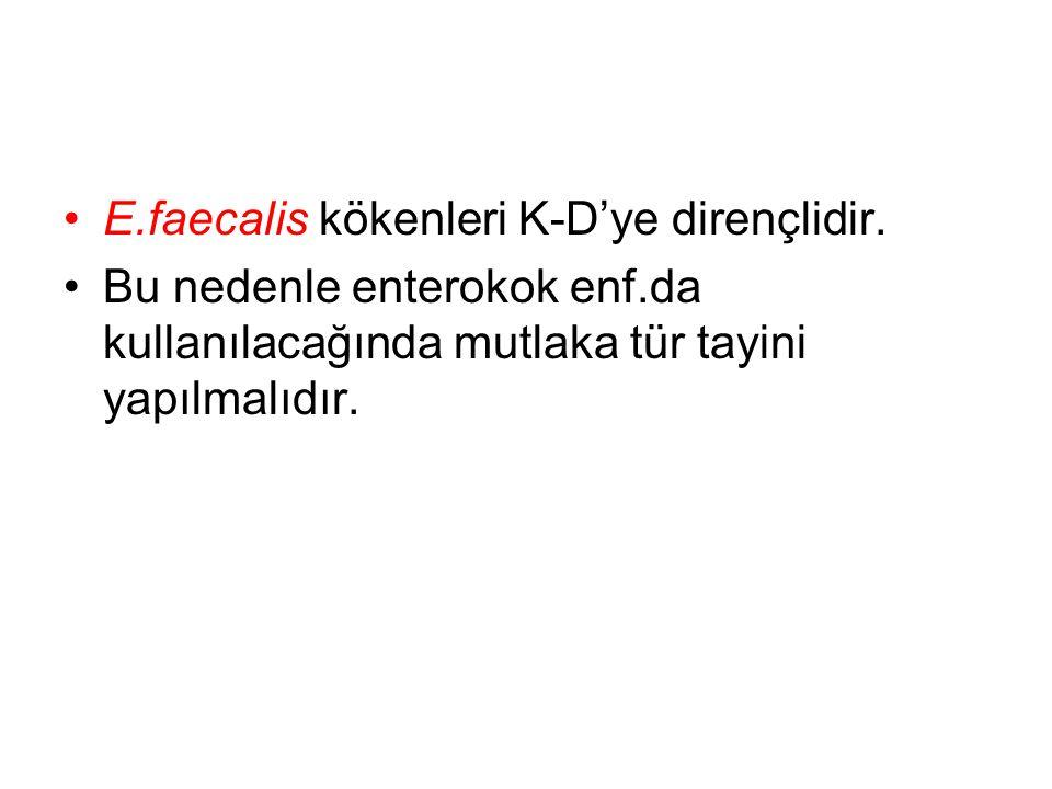 E.faecalis kökenleri K-D'ye dirençlidir.