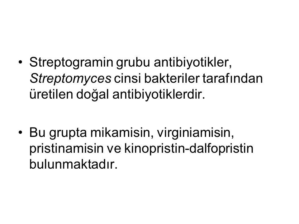 Streptogramin grubu antibiyotikler, Streptomyces cinsi bakteriler tarafından üretilen doğal antibiyotiklerdir.
