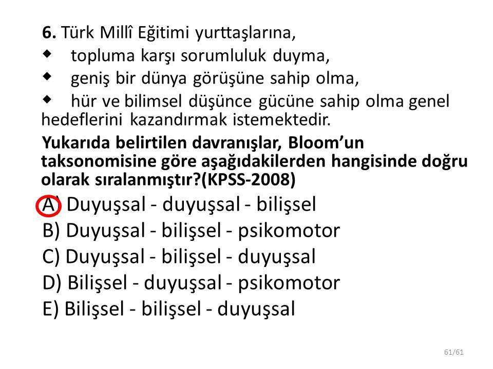 61/61 6. Türk Millî Eğitimi yurttaşlarına,  topluma karşı sorumluluk duyma,  geniş bir dünya görüşüne sahip olma,  hür ve bilimsel düşünce gücüne s