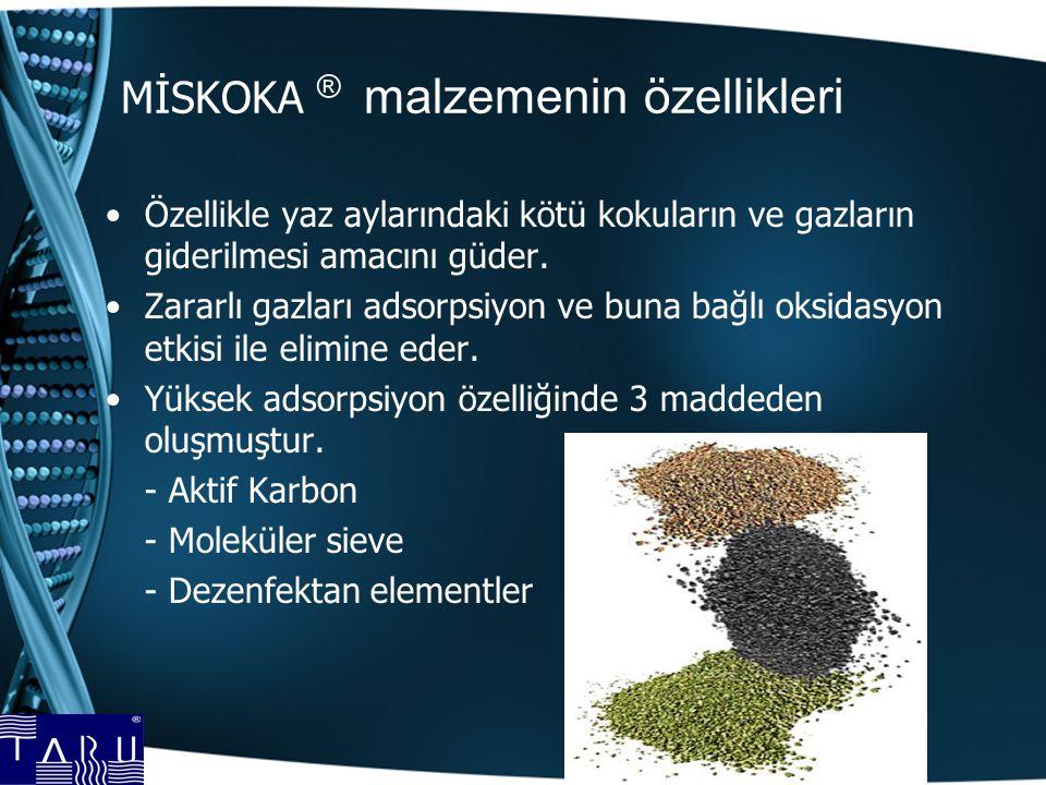 MİSKOKA ® malzemenin özellikleri Özellikle yaz aylarındaki kötü kokuların ve gazların giderilmesi amacını güder.