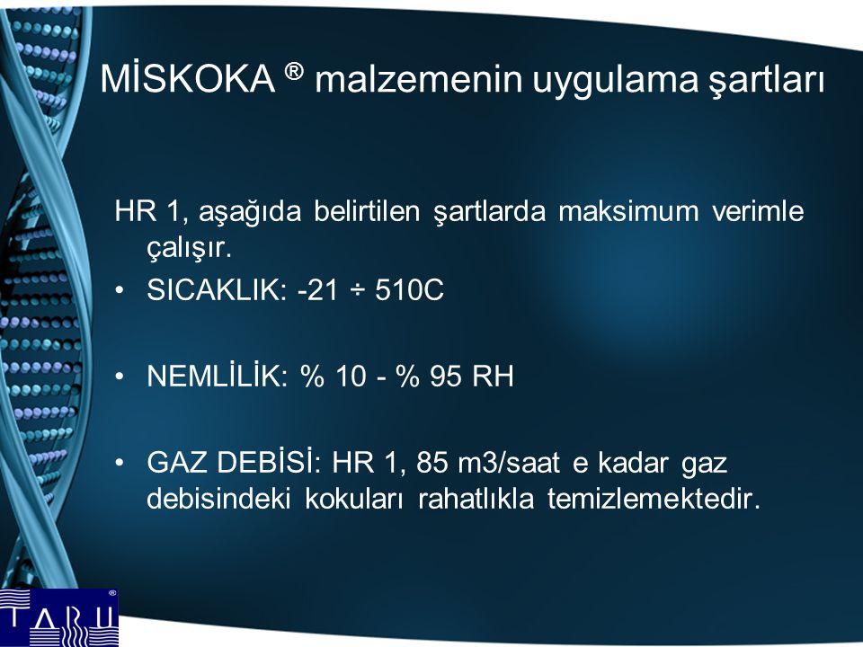 MİSKOKA ® malzemenin uygulama şartları HR 1, aşağıda belirtilen şartlarda maksimum verimle çalışır. SICAKLIK: -21 ÷ 510C NEMLİLİK: % 10 - % 95 RH GAZ