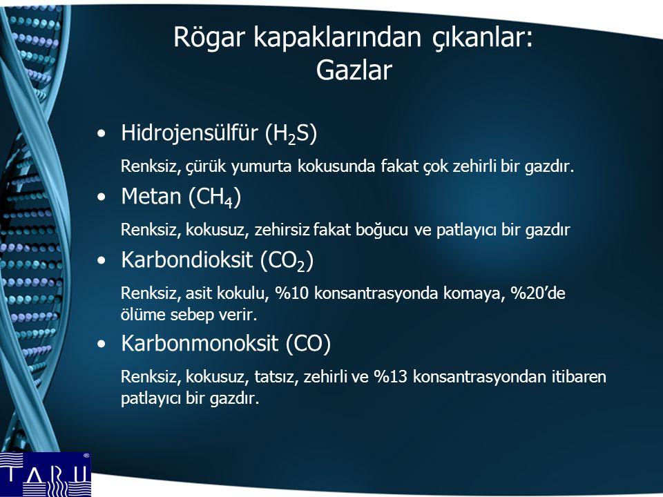 Rögar kapaklarından çıkanlar: Gazlar Hidrojensülfür (H 2 S) Renksiz, çürük yumurta kokusunda fakat çok zehirli bir gazdır. Metan (CH 4 ) Renksiz, koku