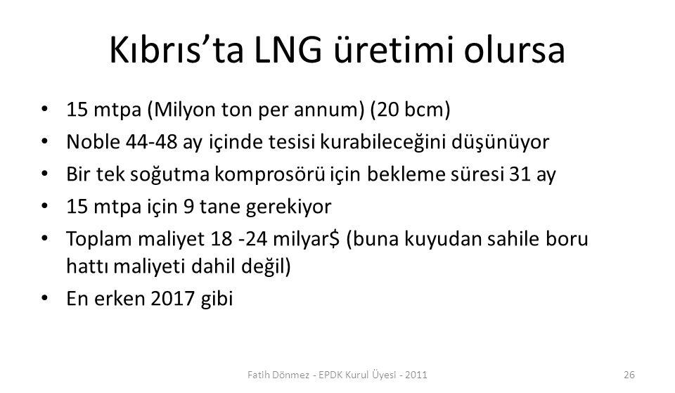 Kıbrıs'ta LNG üretimi olursa 15 mtpa (Milyon ton per annum) (20 bcm) Noble 44-48 ay içinde tesisi kurabileceğini düşünüyor Bir tek soğutma komprosörü