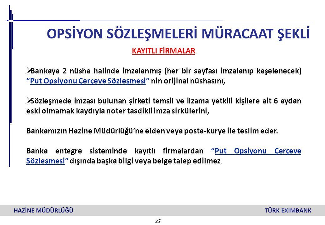 """21 HAZİNE MÜDÜRLÜĞÜ TÜRK EXIMBANK KAYITLI FİRMALAR  Bankaya 2 nüsha halinde imzalanmış (her bir sayfası imzalanıp kaşelenecek) """"Put Opsiyonu Çerçeve"""