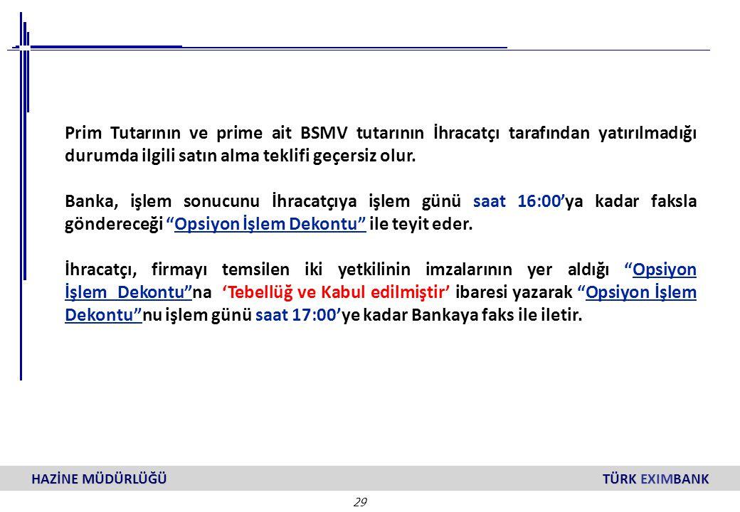 29 HAZİNE MÜDÜRLÜĞÜ TÜRK EXIMBANK Prim Tutarının ve prime ait BSMV tutarının İhracatçı tarafından yatırılmadığı durumda ilgili satın alma teklifi geçe