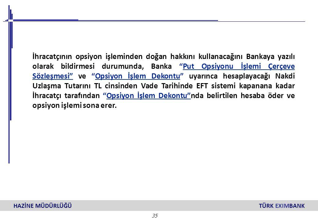 """35 HAZİNE MÜDÜRLÜĞÜ TÜRK EXIMBANK İhracatçının opsiyon işleminden doğan hakkını kullanacağını Bankaya yazılı olarak bildirmesi durumunda, Banka """"Put O"""