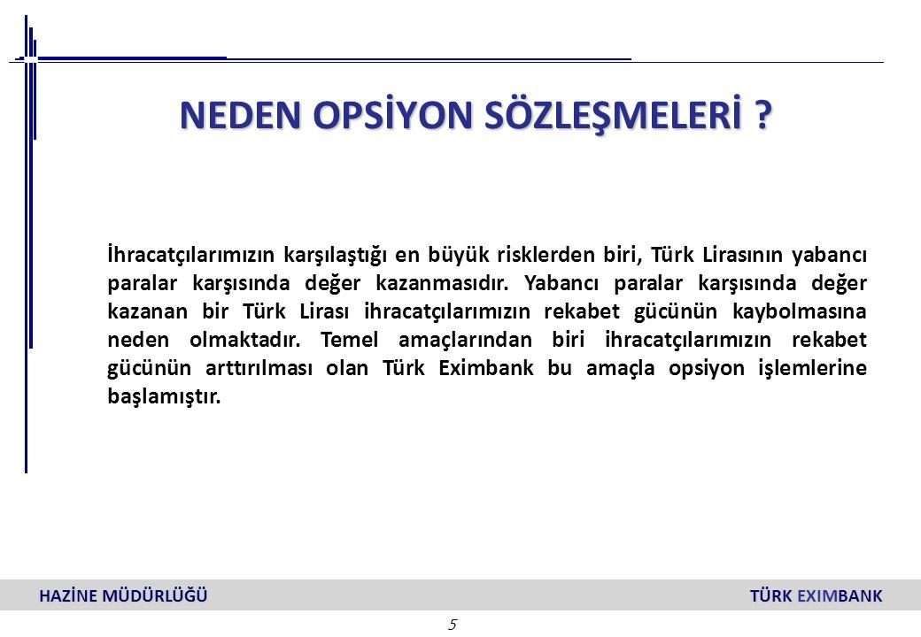 5 HAZİNE MÜDÜRLÜĞÜ TÜRK EXIMBANK NEDEN OPSİYON SÖZLEŞMELERİ ? İhracatçılarımızın karşılaştığı en büyük risklerden biri, Türk Lirasının yabancı paralar
