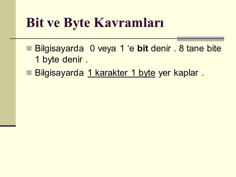 Bit ve Byte Kavramları Bilgisayarda 0 veya 1 'e bit denir.