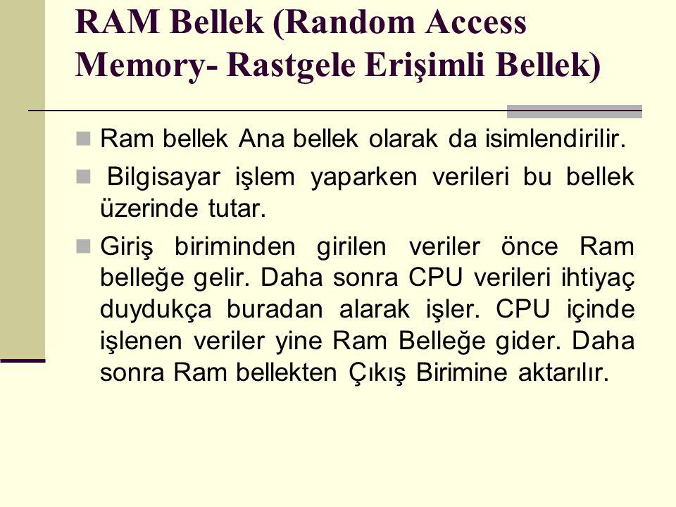 RAM Bellek (Random Access Memory- Rastgele Erişimli Bellek) Ram bellek Ana bellek olarak da isimlendirilir.