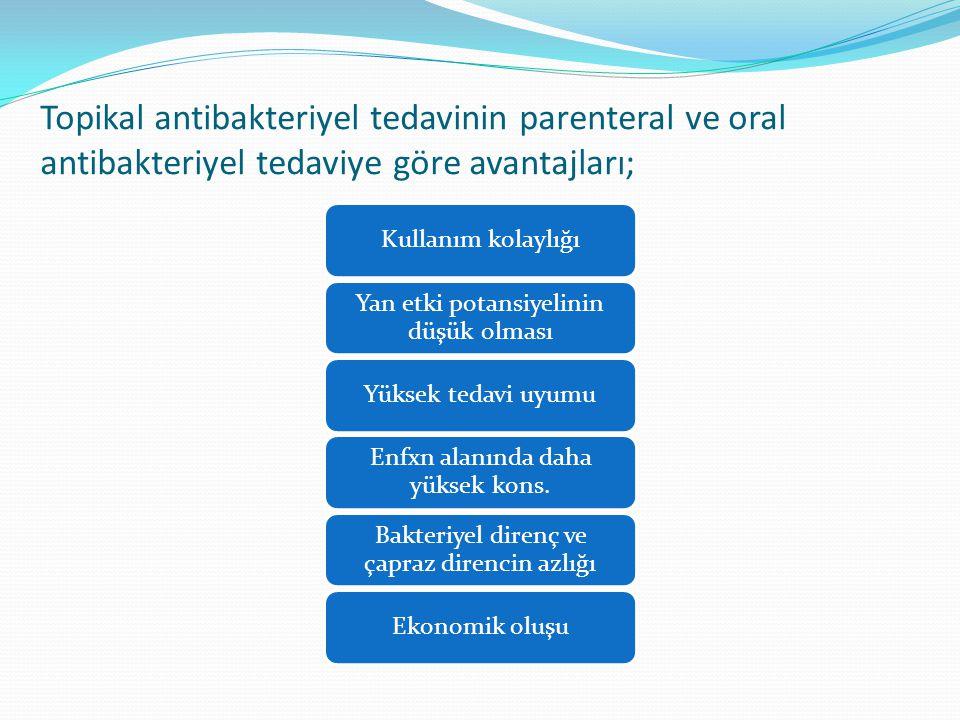 Topikal antibakteriyel tedavinin parenteral ve oral antibakteriyel tedaviye göre avantajları; Kullanım kolaylığı Yan etki potansiyelinin düşük olması Yüksek tedavi uyumu Enfxn alanında daha yüksek kons.