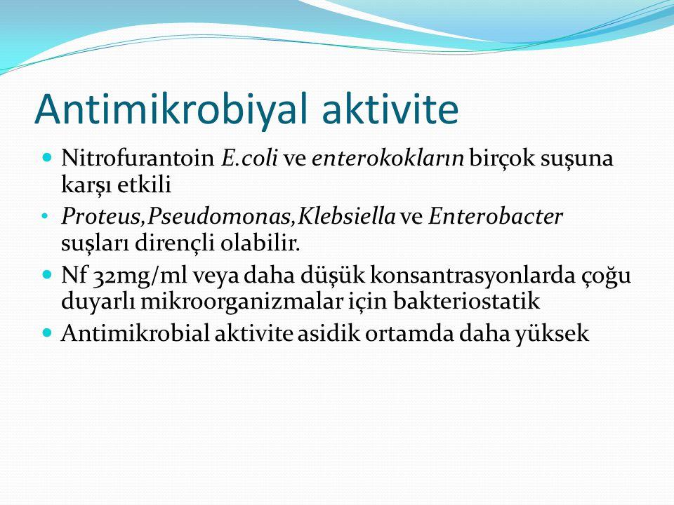 Antimikrobiyal aktivite Nitrofurantoin E.coli ve enterokokların birçok suşuna karşı etkili Proteus,Pseudomonas,Klebsiella ve Enterobacter suşları dirençli olabilir.