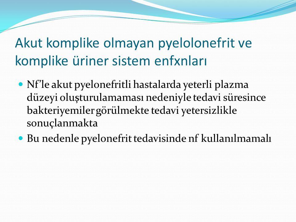 Akut komplike olmayan pyelolonefrit ve komplike üriner sistem enfxnları Nf'le akut pyelonefritli hastalarda yeterli plazma düzeyi oluşturulamaması nedeniyle tedavi süresince bakteriyemiler görülmekte tedavi yetersizlikle sonuçlanmakta Bu nedenle pyelonefrit tedavisinde nf kullanılmamalı