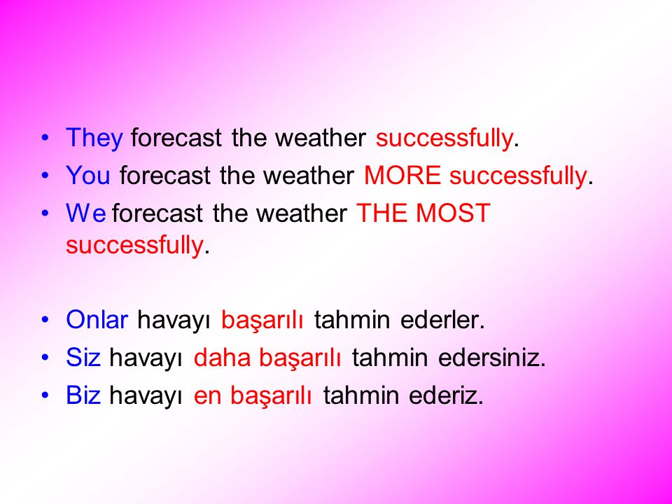 They forecast the weather successfully. You forecast the weather MORE successfully.