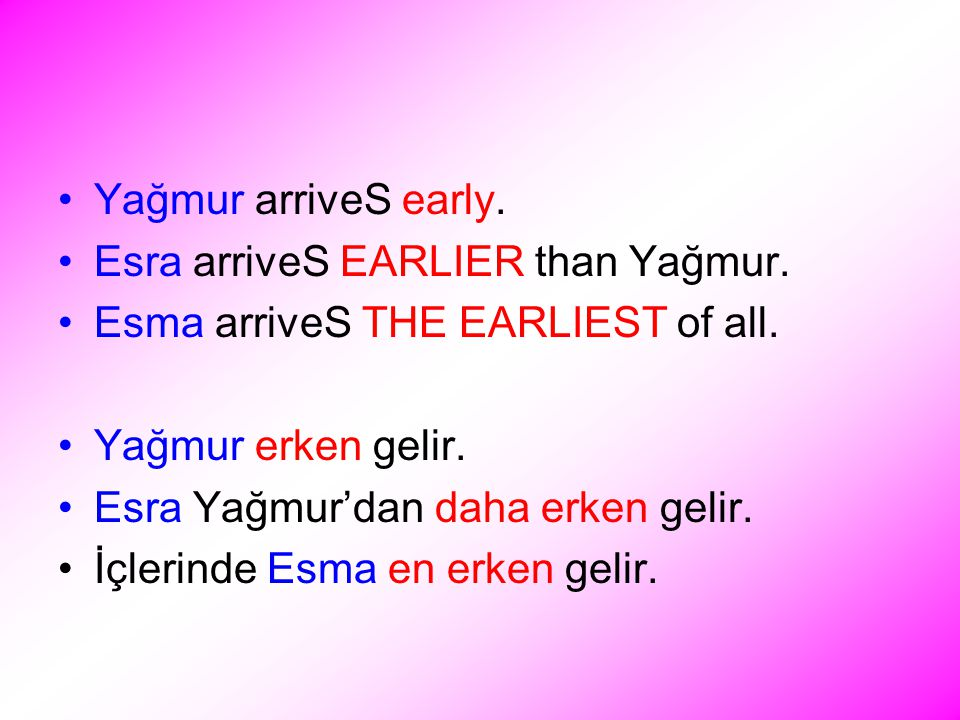 Yağmur arriveS early. Esra arriveS EARLIER than Yağmur.