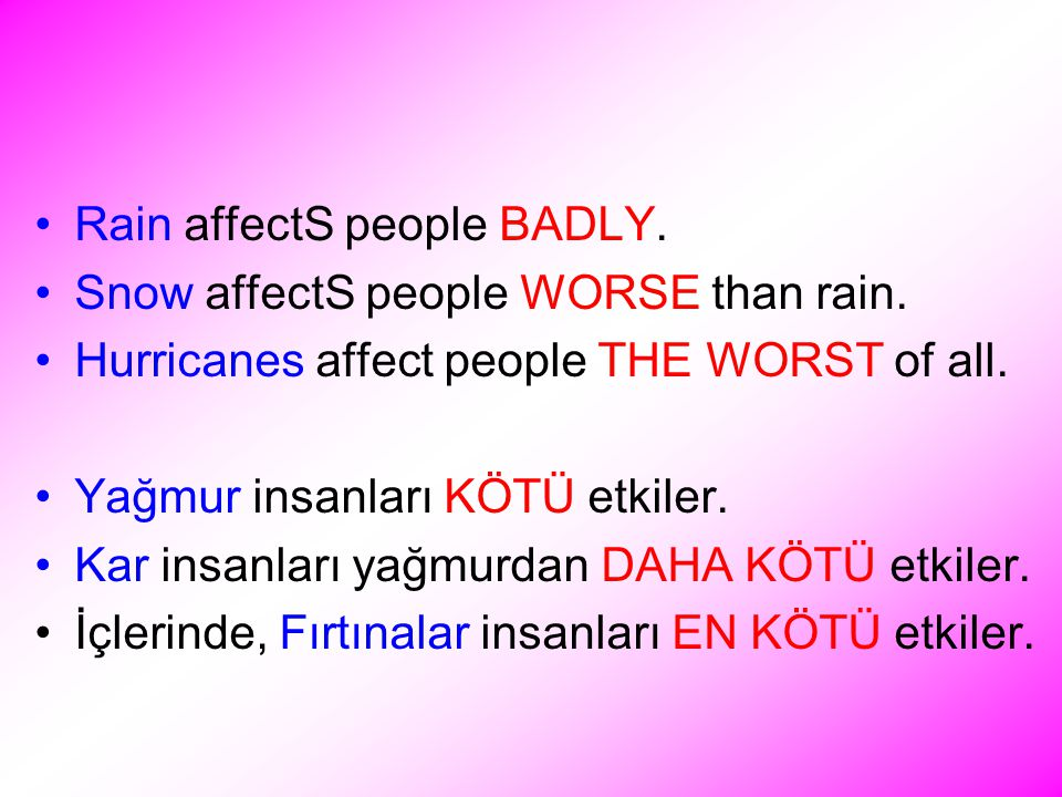 Rain affectS people BADLY. Snow affectS people WORSE than rain.